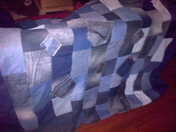 Old denim jeans upcycled into a blanket.