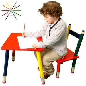 cute pencil chair and table. May be good inspiration for future projects