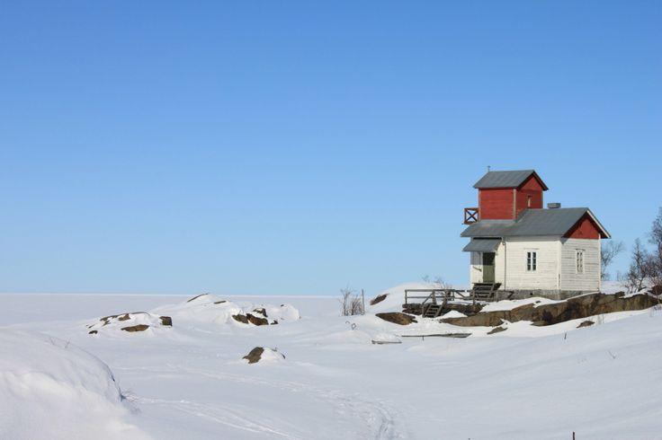 Old wooden lighthouse in the winter, Södra Trutklippan Kokkola Karleby.