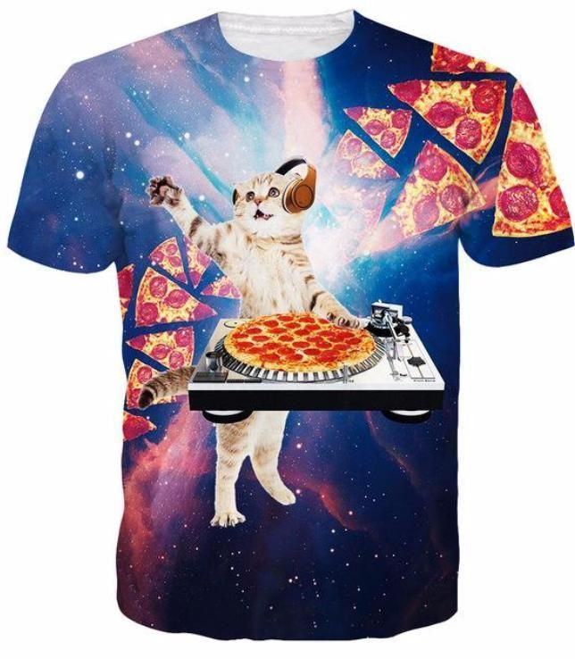 ff3e5d45389 funny cat shirts men - Idgreatim Men s Cosmic Pizza Cat Print Short Sleeve T-shirts  Tees Small   Find out more about the great product at the image link.