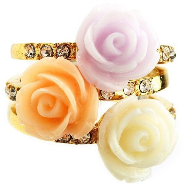 Pastel Rosette Stackable Rings ($6) ❤ liked on Polyvore