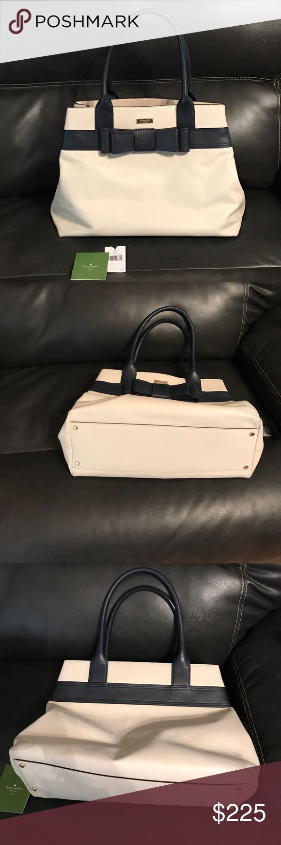 💯% Authentic Kate Spade Off White & Navy Purse Excellent Condition. Only carried one month. Purchased at Nordstrom. 100% cow leather. No stains inside or out. Navy with off white cream color. Handle carry . Three compartments inside with cellphone holders. Style Alice Court , diehl, WKRU2947, clcrm/mdnt 196. 100% authentic, I still have tags. Measures approximately 16.5 across bottom of purse, height is approximately 12 inches, handle drop approximately 9 inches.  No trades. kate spade Bags…