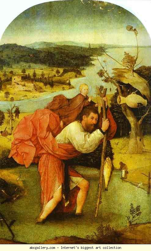 Hieronymus Bosch. St. Christopher Carrying the Christ Child. Olga's Gallery - St. Christopher Carrying the Christ Child. 1480-1490. Oil on panel. Museum Boymans-van Beuningen, Rotterdam, Netherlands: