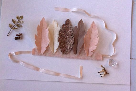 Wool Felt Feather Crown // Toddler  Child by fancyfreefinery