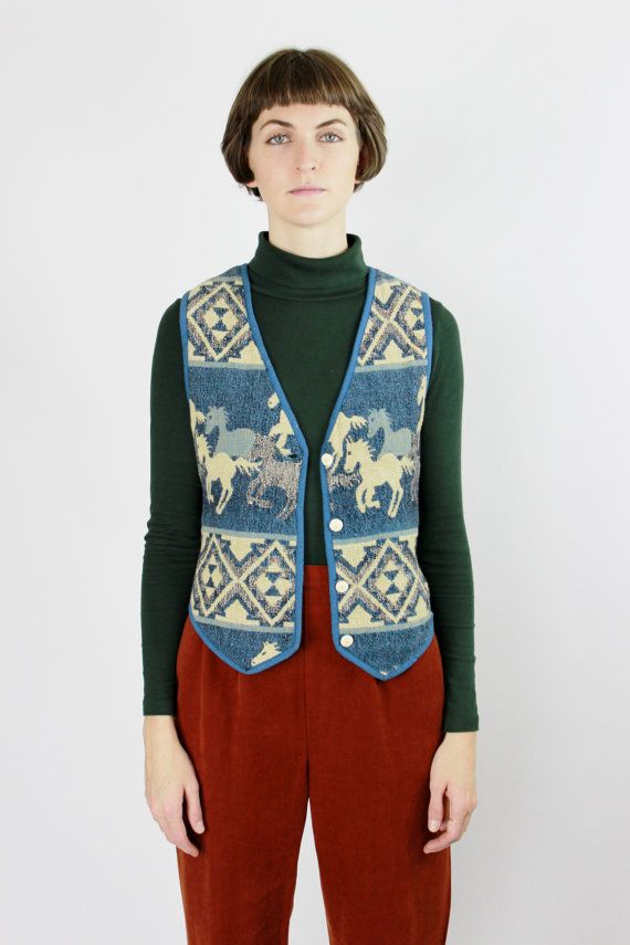 Vintage Horse Vest by New Identity  -----------------------------------------------  Horses roaming free on the front and back of this button up