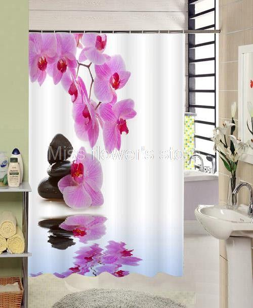 Reflection Purple Flower Blackstone Shower Curtain
