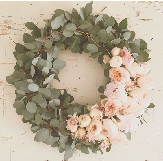 Eucalyptus and Peonies - Festive DIY Wreath Ideas to Get You In the Holiday Spirit - Photos