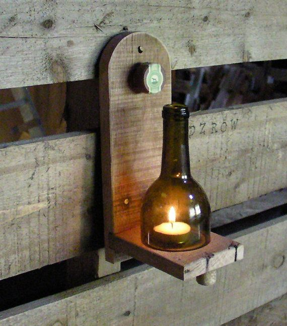 Reclaimed oak wood and wine bottle candle holder by SKIDZROW, $15.00