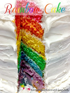 Here Comes the Sun: Rainbow Cake Tutorial-I am gonna try this one I think!