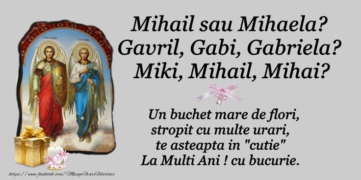 Sfintii Mihail si Gavriil Un buchet mare de flori, stropit cu multe urari te astepta in cutie La multi ani! cu bucurie.