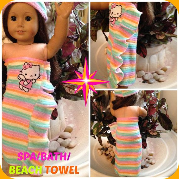 "American Girl Doll/ 18"" Doll Spa/Beach/Bath Multi-Colored Terry Wrap Cover Up Towel With Headband"