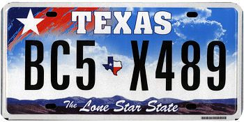This is the official license plate for the state of Texas as it has been officially adopted by the state legislature. Also known as a vehicle registration plate, it is used to identify the car and owner of a motor vehicle or trailer in the state.