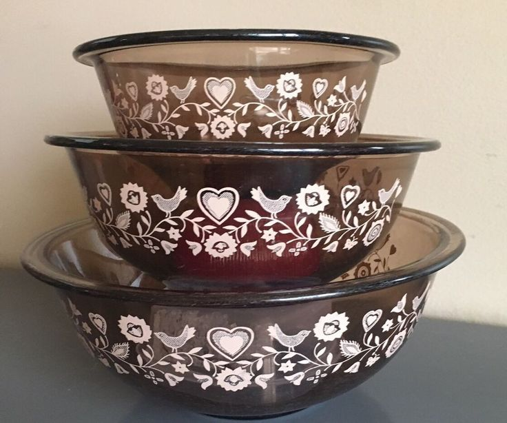 Vintage Pyrex Amber Mixing Bowls Friendship Pattern Birds 322 323 325  |