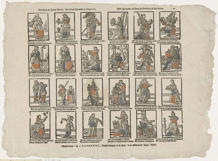 Johannes Kannewet (II) | Komt hier gij jonge jeugd / hier is wat nieuws na u begeeren: / Veel spreuken en zinnebeelden kunt gy hier leeren, Johannes Kannewet (II), Anonymous, 1725 - 1780 | Blad met 24 verbeeldingen van spreuken en zinnebeelden. Onder elke afbeelding een tweeregelig vers. Genummerd rechtsboven: *50.
