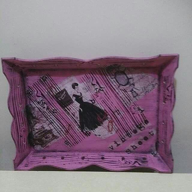 #vintage ahşap boyama tepsi #pirinç dekopaj #stencil ahşap doku #Eskitme
