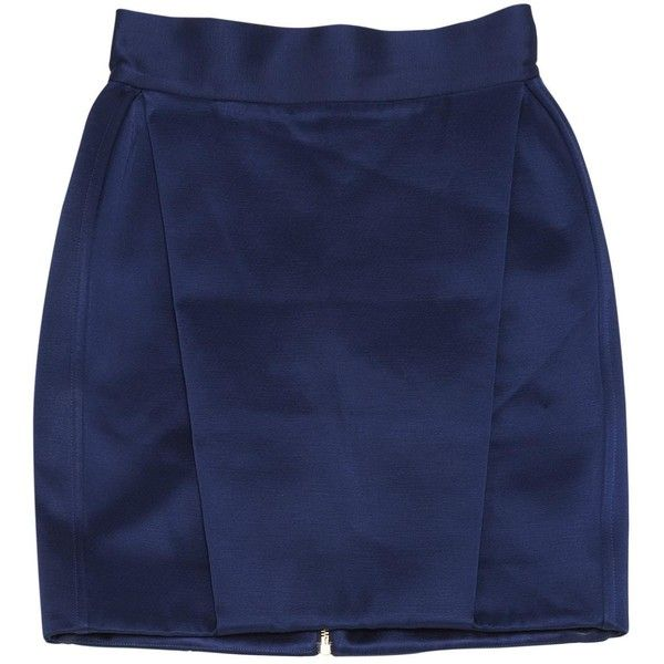 Pre-owned Balmain Mid-Length Skirt ($320) ❤ liked on Polyvore featuring skirts, navy, women clothing skirts, mid length skirts, blue skirts, balmain, navy blue skirt and navy knee length skirt