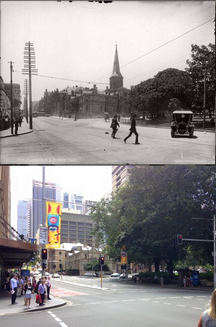 Elizabeth & Market Sts, Sydney looking NE to St James Rd c1920>2016. [c1920-The Powerhouse Museum>2016-Phil Harvey. By Phil Harvey]