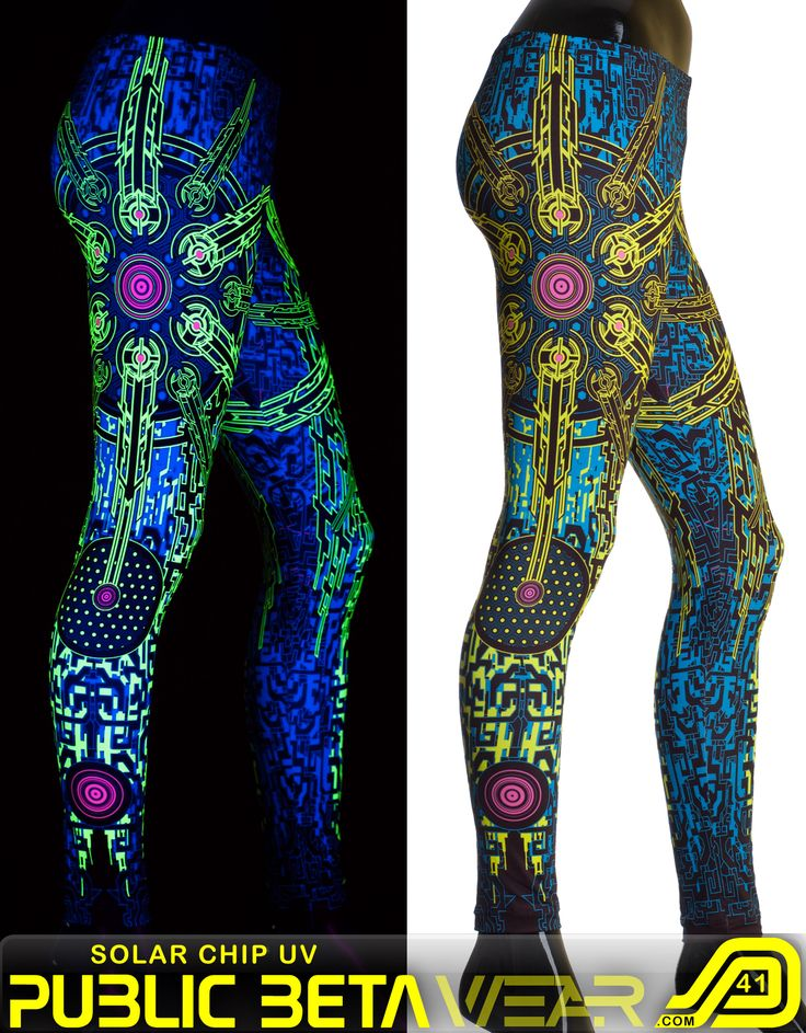 Solar Chip D41 Leggings -by Public Beta Wear Immersive, blacklight reactive clothing. Psychedelic, cyber, futuristic motifs. Festival fashion. Active wear. Yoga.