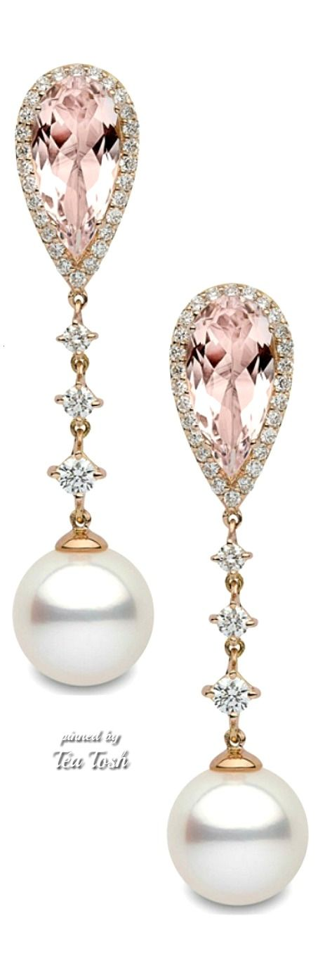 Pearl Drops, Diamonds, Morganite Earrings