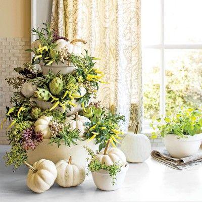 Tabletop White Pumpkin Topiary