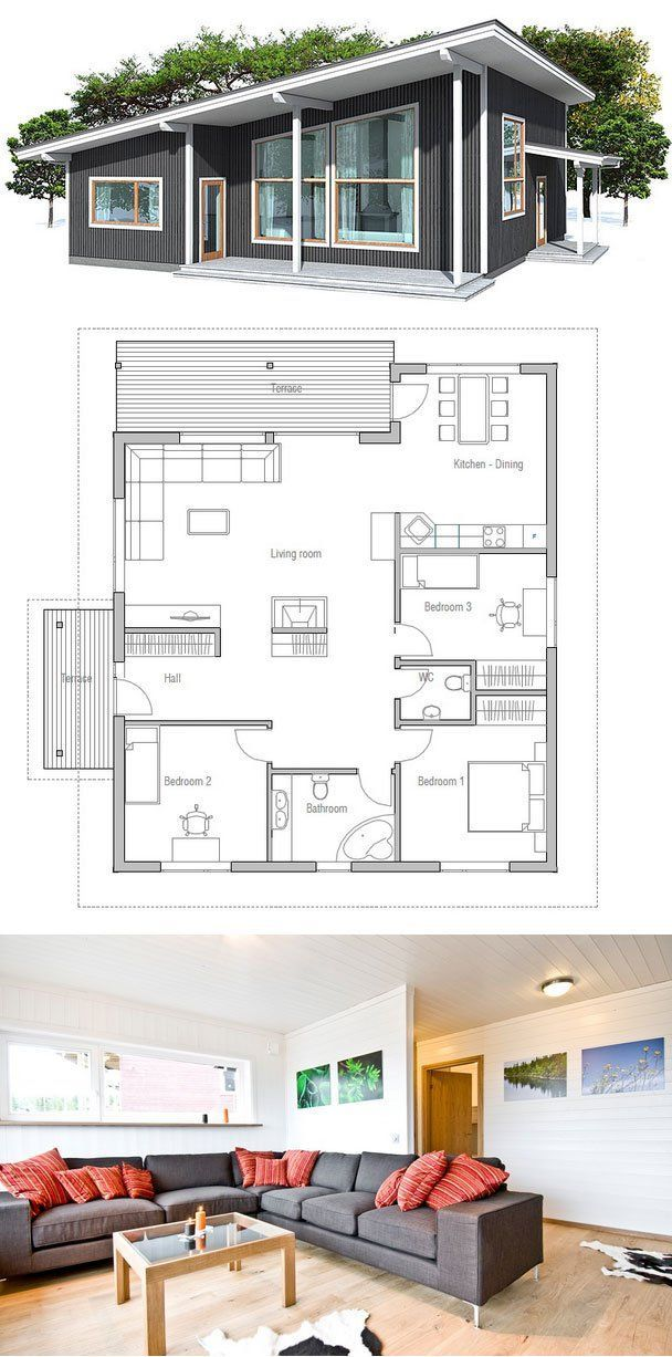 Modern house with high ceilings. Three bedrooms and separate TV area for kids. Simple shapes and lines, affordable building budget. | House ideas |…