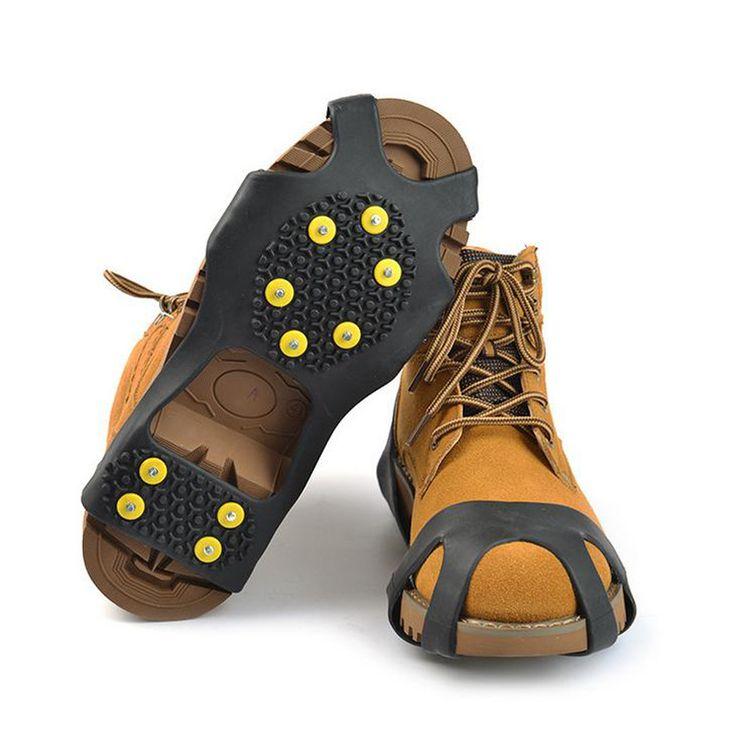 S M L XL 4 Tamaño 10-Stud Universal de Hielo No Slip Raquetas de nieve Picos Grips Crampones Tacos de Invierno Antideslizantes Zapatos de Escalada cubierta