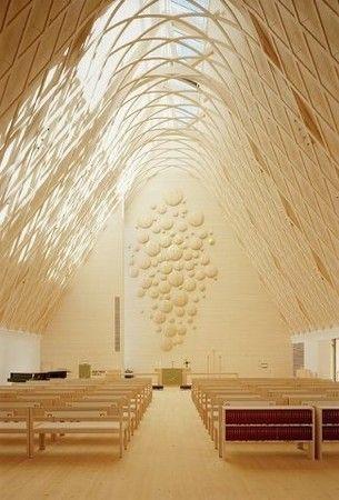 Divine light in the Kuokkala Church in jyvaskyla Finland