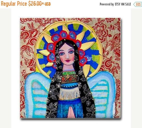50% Off Today- Mexican Folk Art Ceramic Tile Virgin of Guadalupe Art Mexican Talavera Tiles Gift COASTER Mothers Day Gift