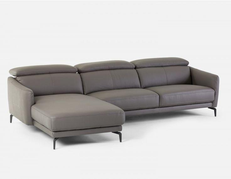 BRUGE - Canapé d'angle gauche en cuir - Gris