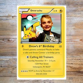 Pokemon party invitation! Perfect for a girl or boy birthday party! Personalize with your childs photo! Use for any age! ★★THIS IS A DIGITAL FILE★★ Can be easily printed as many times as you need. You choose the size: either 4x6 or 5x7. Files have an extra 1/8 inch border to allow for trimming. These are high resolution (300 dpi) files. You will receive a JPEG file. Two rounds of revisions are included in the purchase. Additional revisions will be charged extra. You will receive a digi...