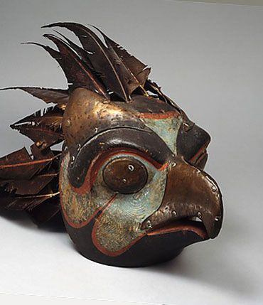 Bird Mask-19th–20th century Haida culture, British Columbia.Wood (cedar), paint, feathers, copper, whalebone, string, iron nails. The Metropolitan Museum of Art, NYC Haida culture, British Columbia