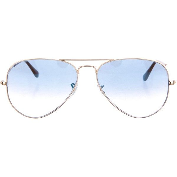 Pre-owned Ray-Ban Large Aviator Sunglasses ($125) ❤ liked on Polyvore featuring accessories, eyewear, sunglasses, gold, ray ban sunglasses, aviator style sunglasses, gold aviator sunglasses, aviator sunglasses and gradient lens sunglasses