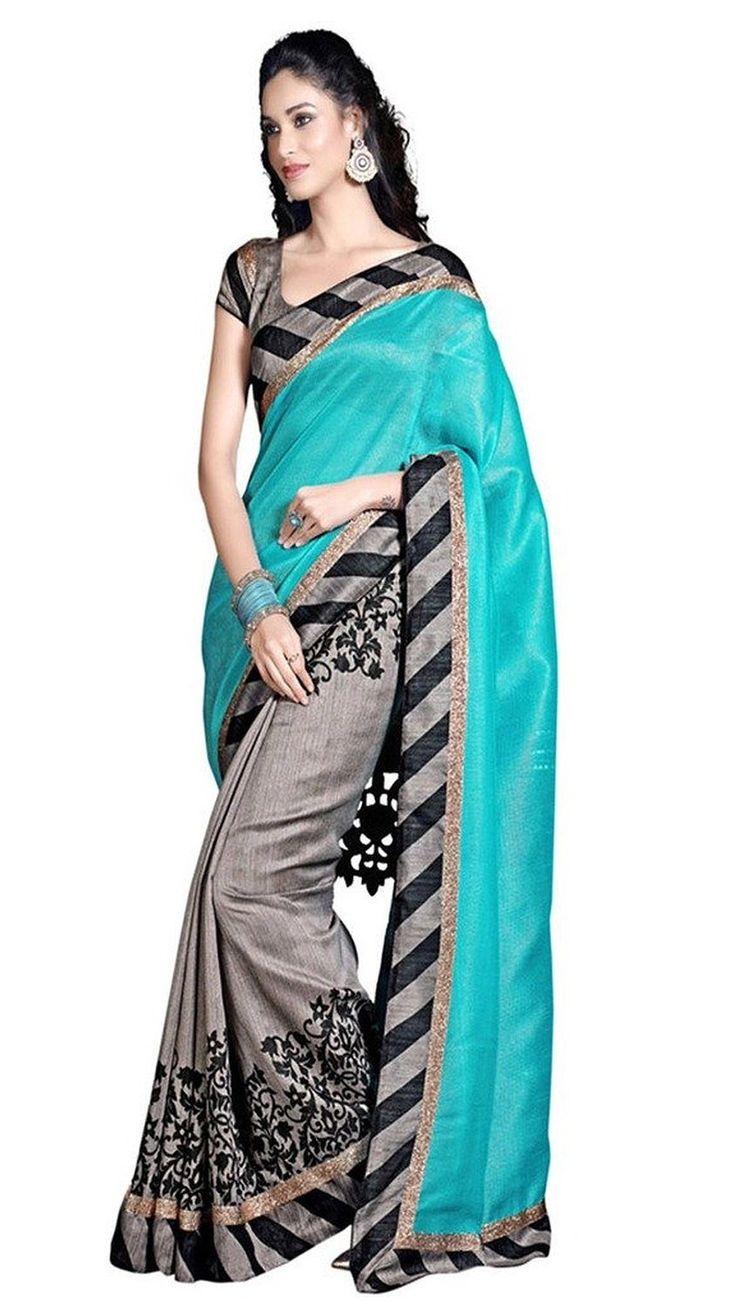 Printed Silk Saree - gray with blue border