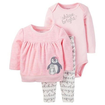 Baby Girls' 3 Piece Penguin Shine Bright Set Pink/Silver Glitter - Just One You™Made by Carter's®