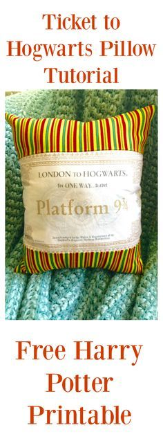 harry potter pillow tutorial with free printable