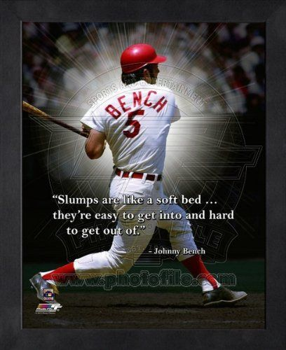 Johnny Bench Cincinnati Reds Pro Quotes Framed 8x10 Photo:  ✿