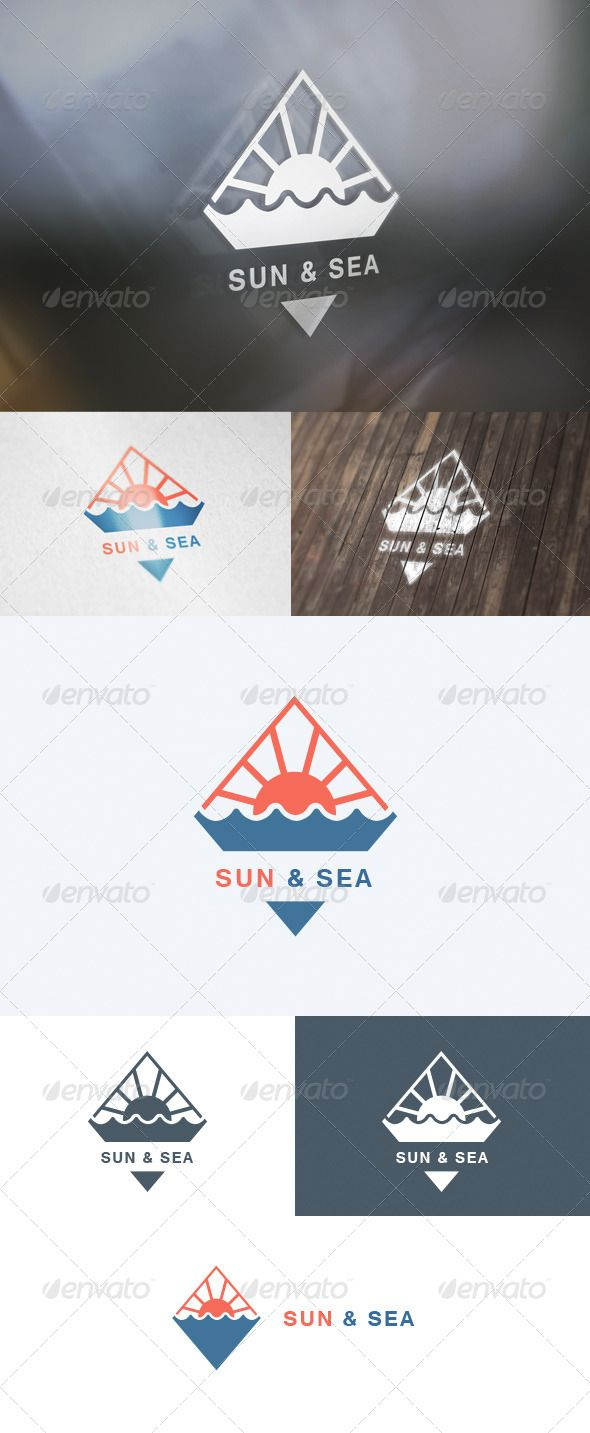 Sun & Sea Logo — Photoshop PSD #rhomb #branding • Available here → https://graphicriver.net/item/sun-sea-logo/5727182?ref=pxcr