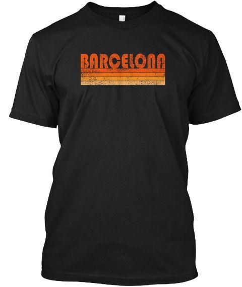 Vintage Retro Barcelona Spain T Shirt Black T-Shirt Front