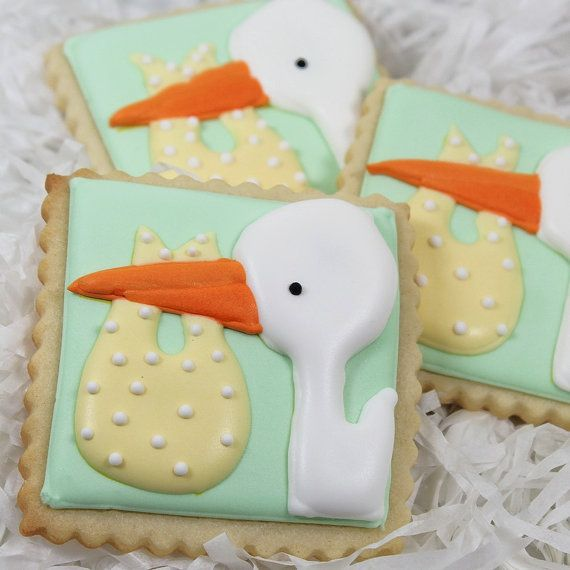 We're Expecting Decorated Sugar Cookie Favor Baby By