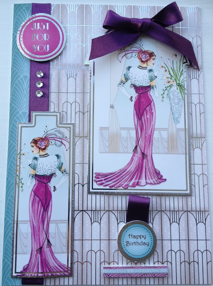 Hunkydory Art Deco Ladies Card by Sospecial Cards