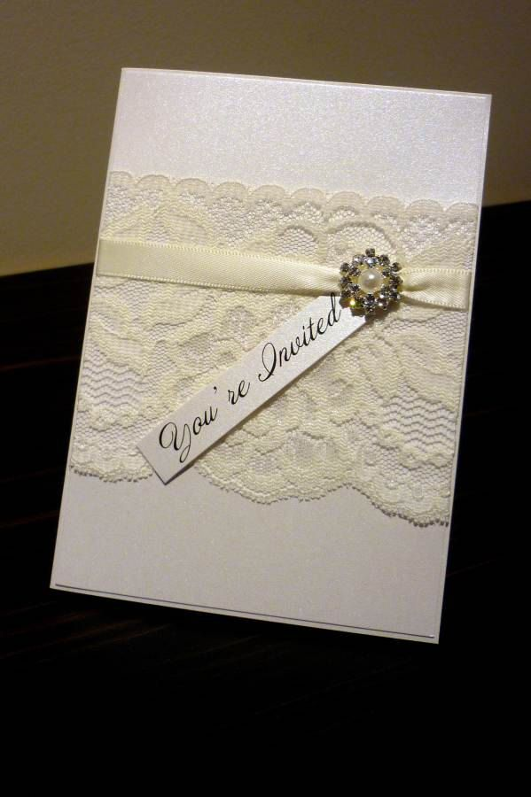 lace wedding invitation wrap%0A Ivory Vintage Lace Wedding Invitation  u     RSVP  with pearl and diamante  cluster