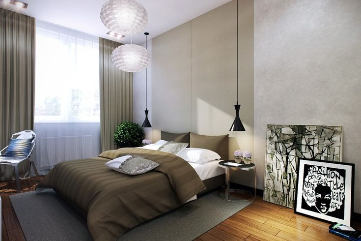 Modern Small Bedroom hanging bedside lamps