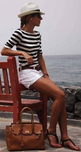you have fantastic legs but with longer white shorts or white cotton skirt - trilby sandals - would look unreal