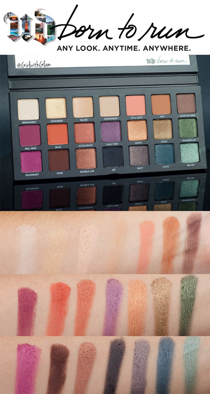 Full Urban Decay Born To Run Collection Swatched On Light To