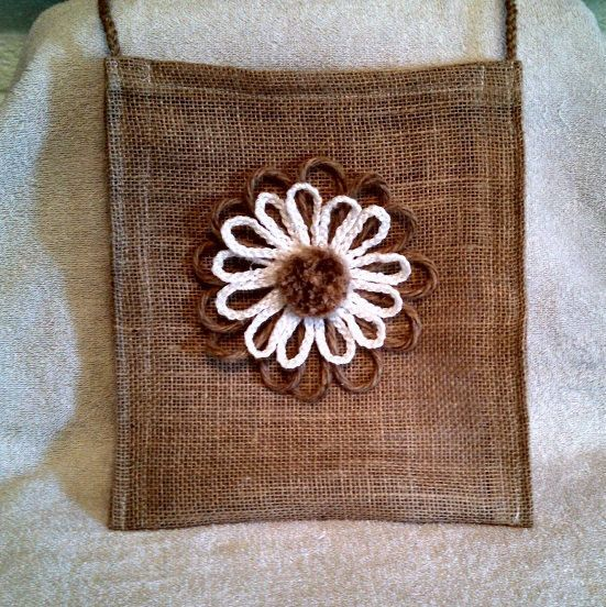 Burlap purse tote bag macrame flower accessories by RobinsTime