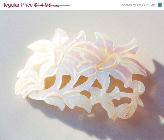 ON SALE Vintage Mother Of Pearl Flower by PaganCellarJewelry