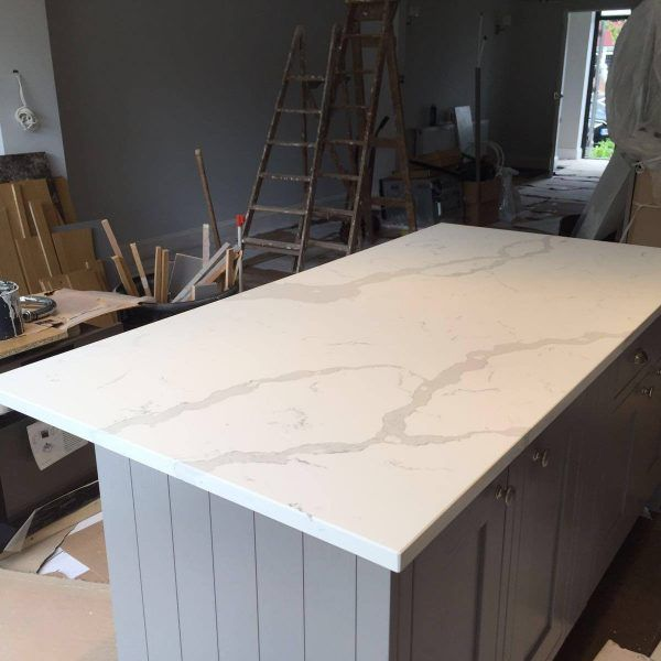 This is the Calacutta. It is a premium white quartz with a grey marble throughout.