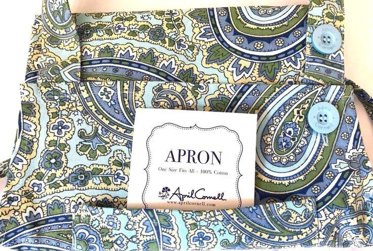 NEW APRIL CORNELL ADULT BIB APRON BLUE GREEN GOLD PAISLEY NWT #AprilCornell #FrenchCountry