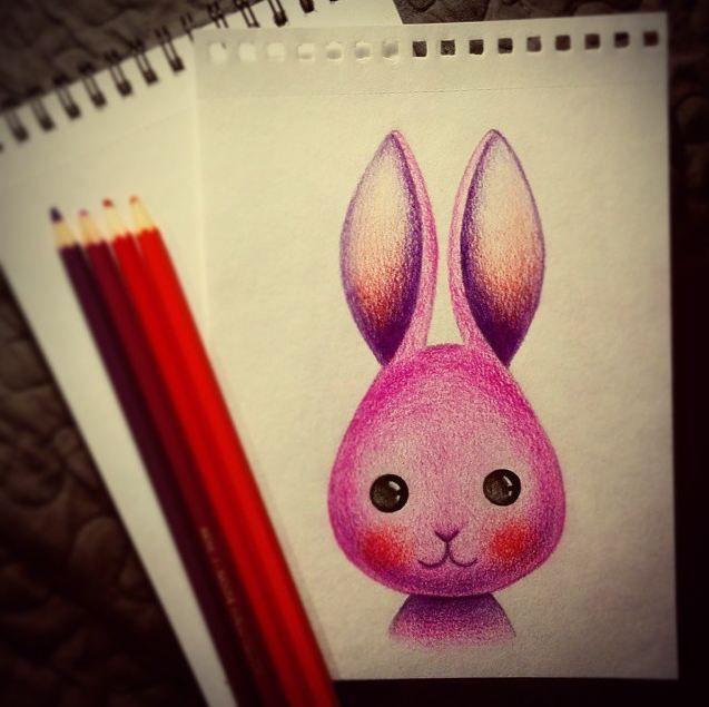 #cute pink #bunny (Pencil #drawing by Daria Khanolainen) #art