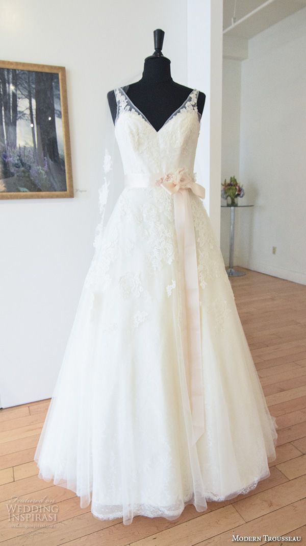 modern trousseau fall 2016 new york bridal week pretty a  line wedding dress v neck illusion lace strap ribbon belt